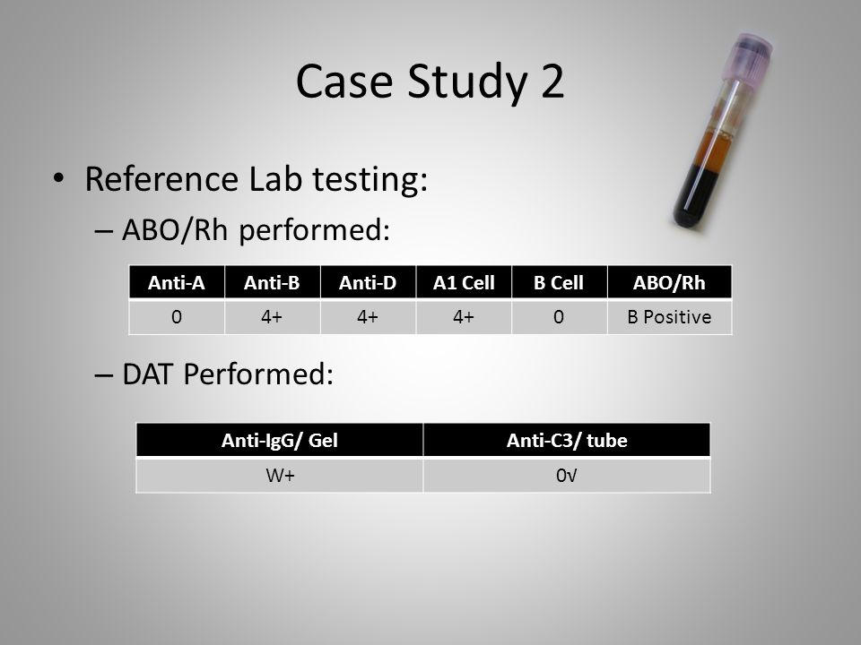 Case Study 2 Reference Lab testing: ABO/Rh performed: DAT Performed: