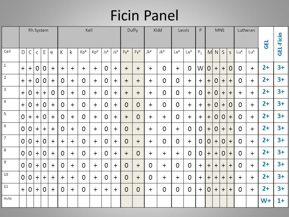 Ficin Panel + W 2+ 3+ W+ 1+ GEL-Ficin GEL D C c E e K k M N S s