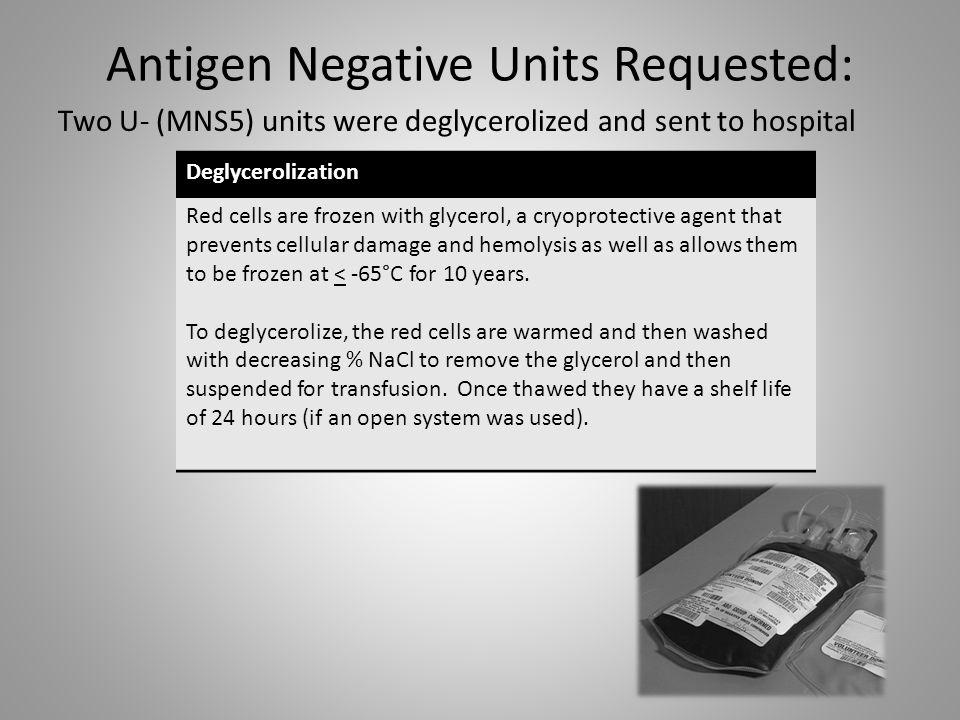 Antigen Negative Units Requested: