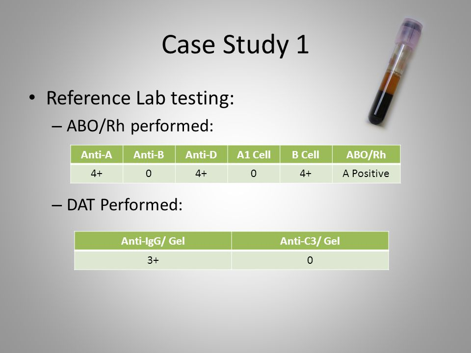 Case Study 1 Reference Lab testing: ABO/Rh performed: DAT Performed: