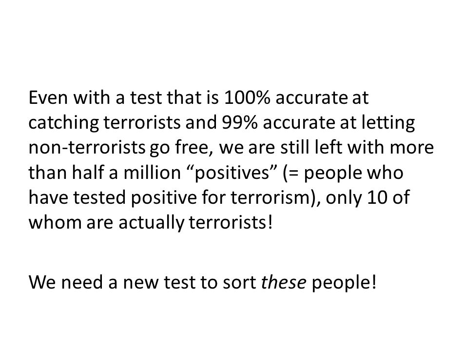Even with a test that is 100% accurate at catching terrorists and 99% accurate at letting non-terrorists go free, we are still left with more than half a million positives (= people who have tested positive for terrorism), only 10 of whom are actually terrorists.