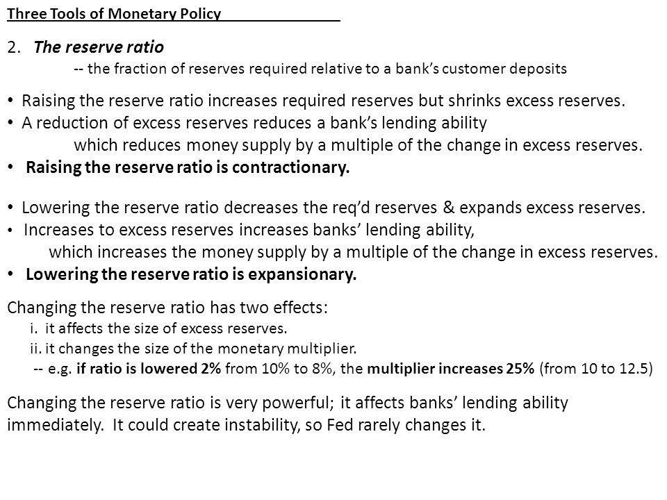 A reduction of excess reserves reduces a bank's lending ability