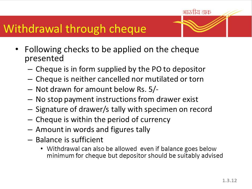Withdrawal through cheque