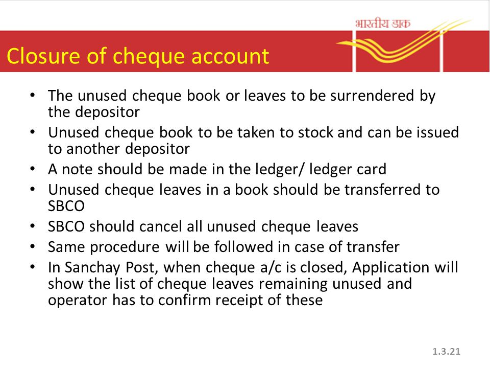 Closure of cheque account