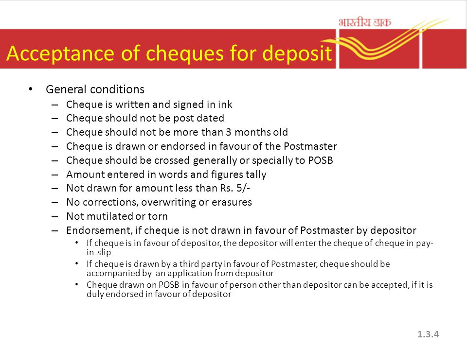 Acceptance of cheques for deposit