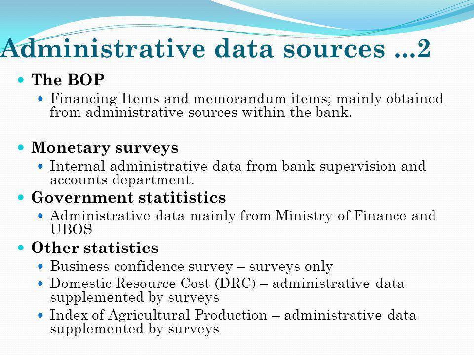 Administrative data sources ...2