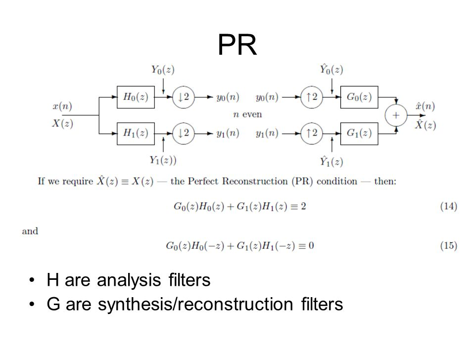 PR H are analysis filters G are synthesis/reconstruction filters