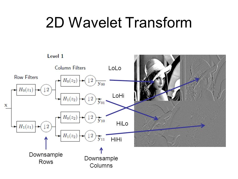 2D Wavelet Transform LoLo LoHi HiLo HiHi Downsample Rows