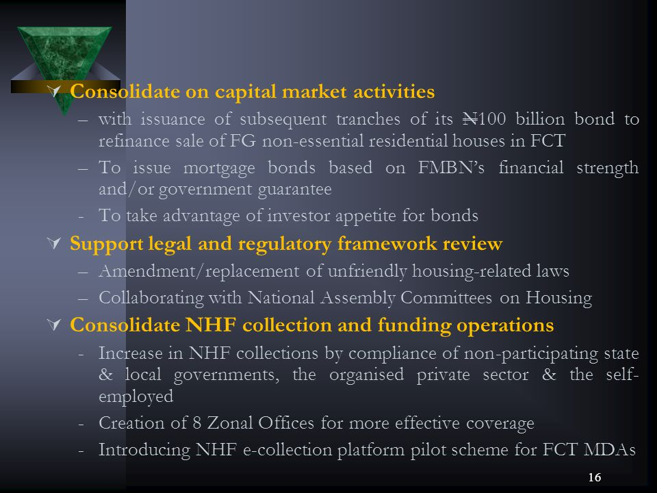 Consolidate on capital market activities