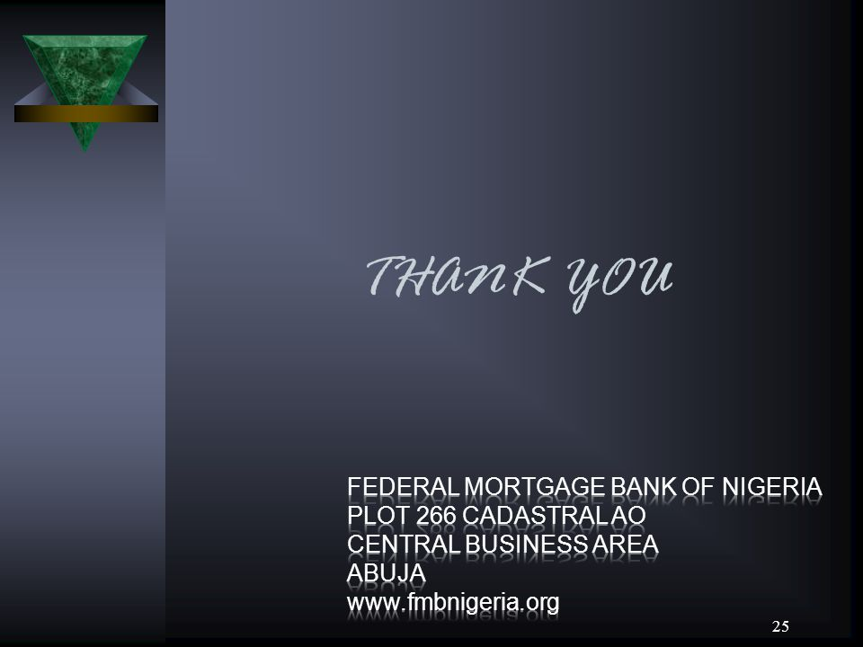 THANK YOU FEDERAL MORTGAGE BANK OF NIGERIA PLOT 266 CADASTRAL AO