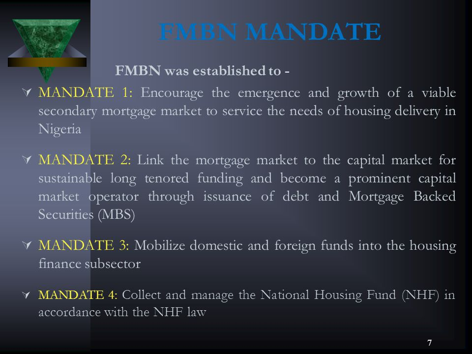 FMBN MANDATE FMBN was established to -