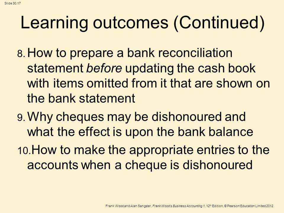 Learning outcomes (Continued)