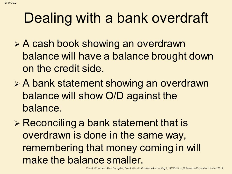 Dealing with a bank overdraft
