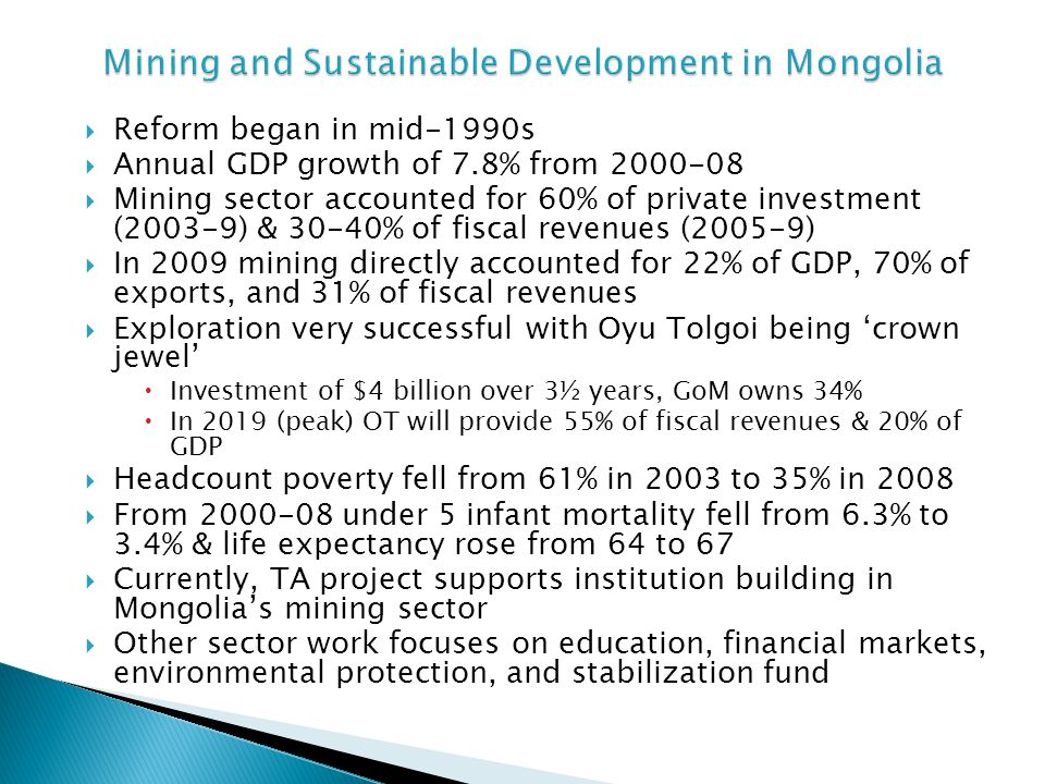 Mining and Sustainable Development in Mongolia