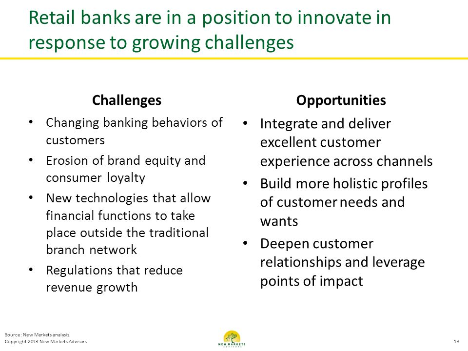 Retail banks are in a position to innovate in response to growing challenges
