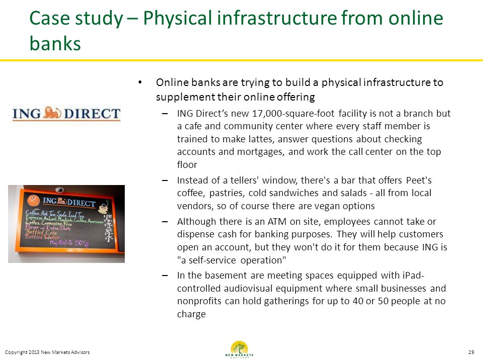 Case study – Physical infrastructure from online banks