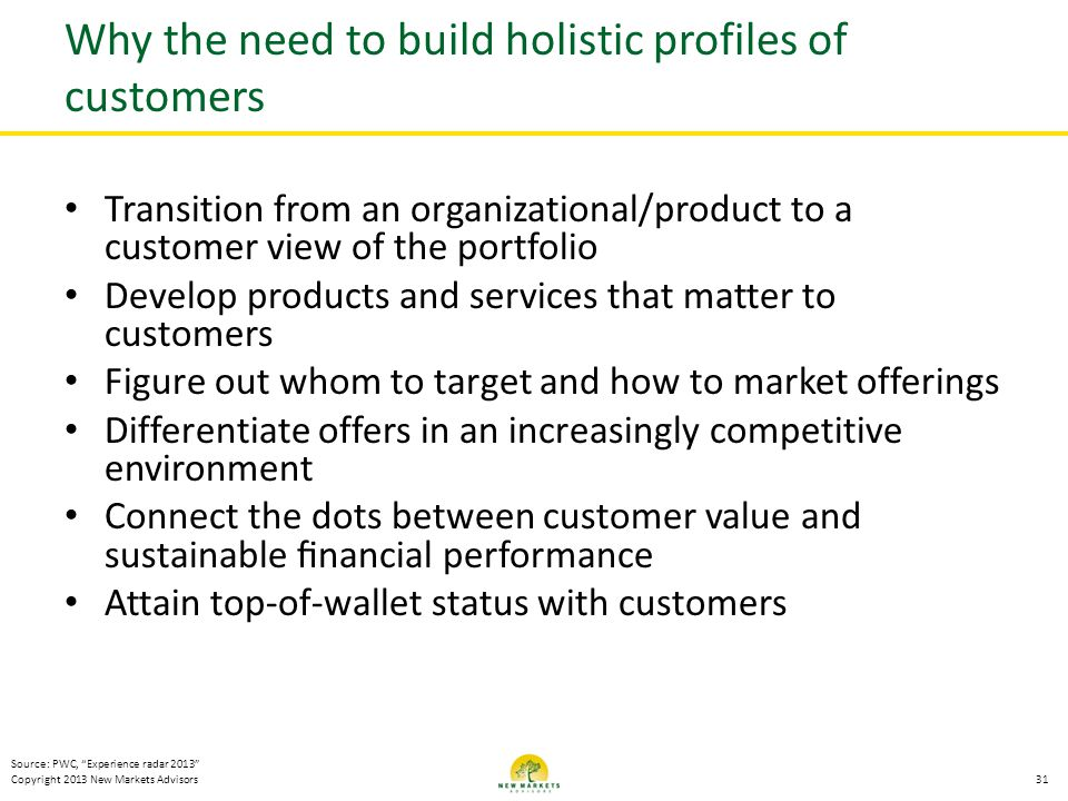 Why the need to build holistic profiles of customers
