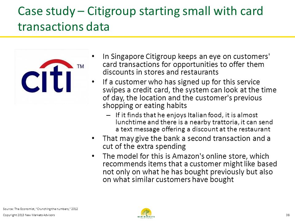 Case study – Citigroup starting small with card transactions data