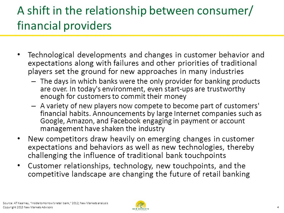 A shift in the relationship between consumer/ financial providers