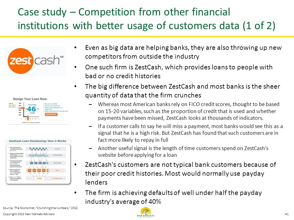 Case study – Competition from other financial institutions with better usage of customers data (1 of 2)