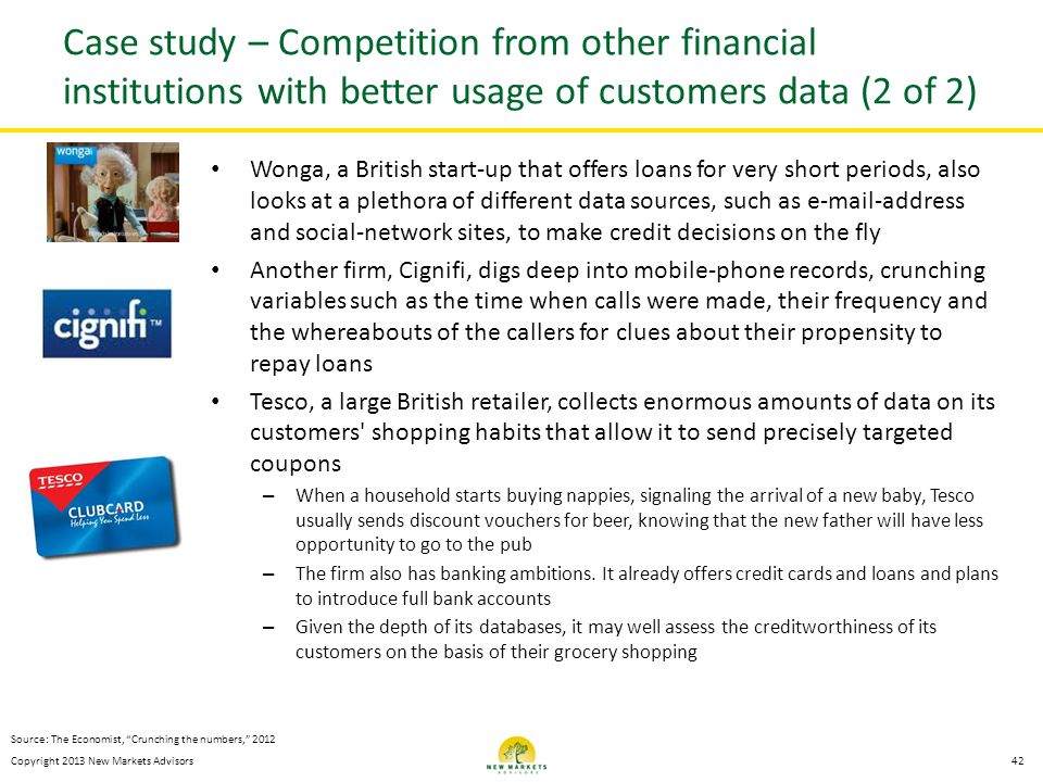 Case study – Competition from other financial institutions with better usage of customers data (2 of 2)