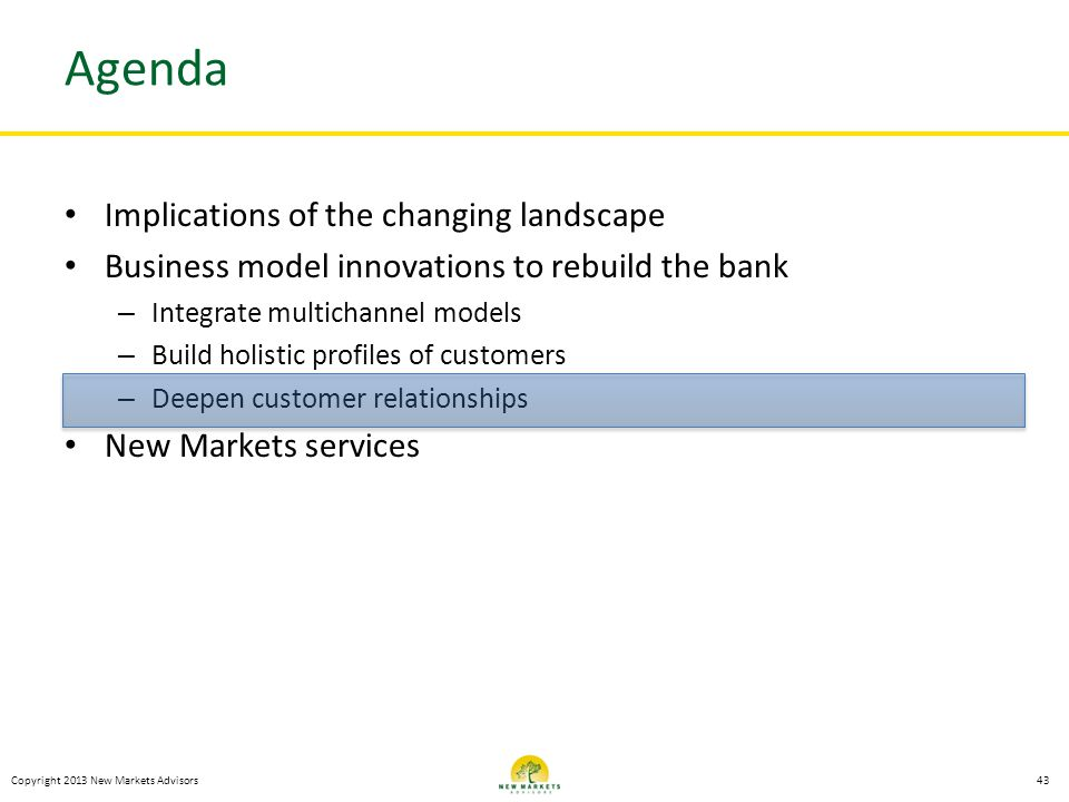 Agenda Implications of the changing landscape