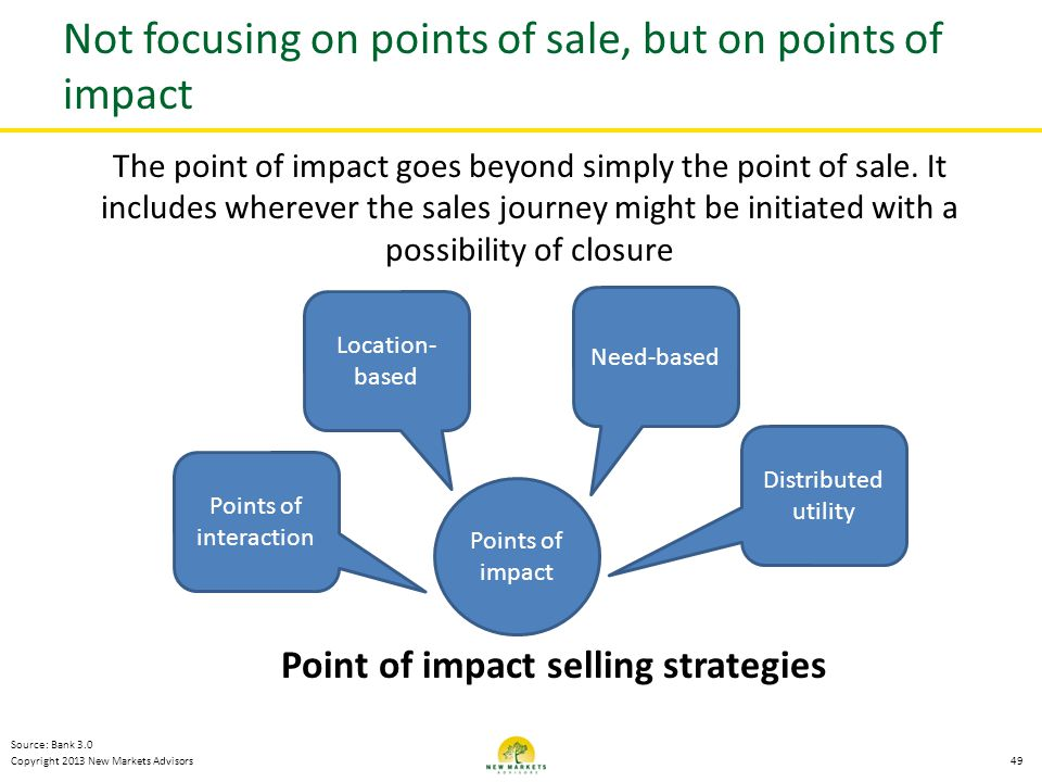 Not focusing on points of sale, but on points of impact