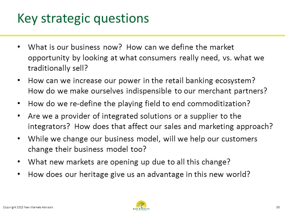 Key strategic questions