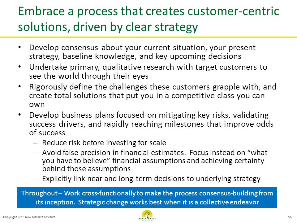Embrace a process that creates customer-centric solutions, driven by clear strategy