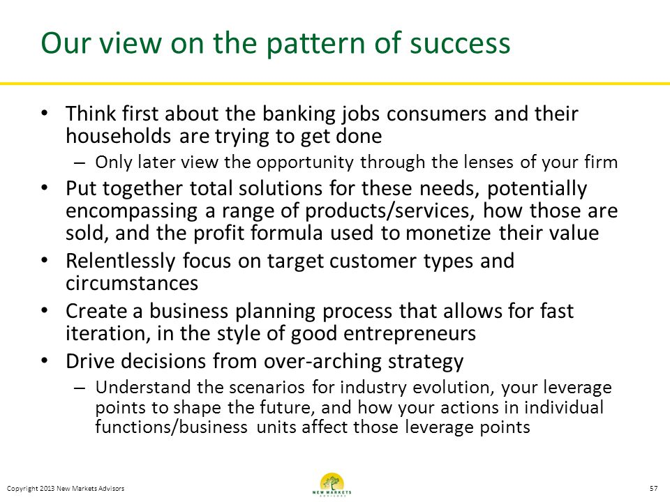 Our view on the pattern of success