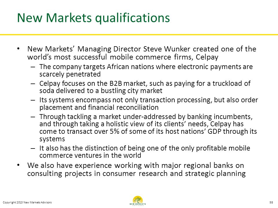 New Markets qualifications