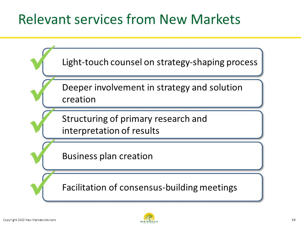 Relevant services from New Markets
