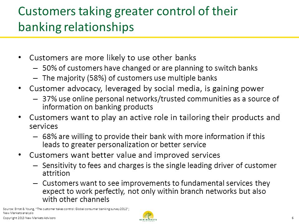 Customers taking greater control of their banking relationships