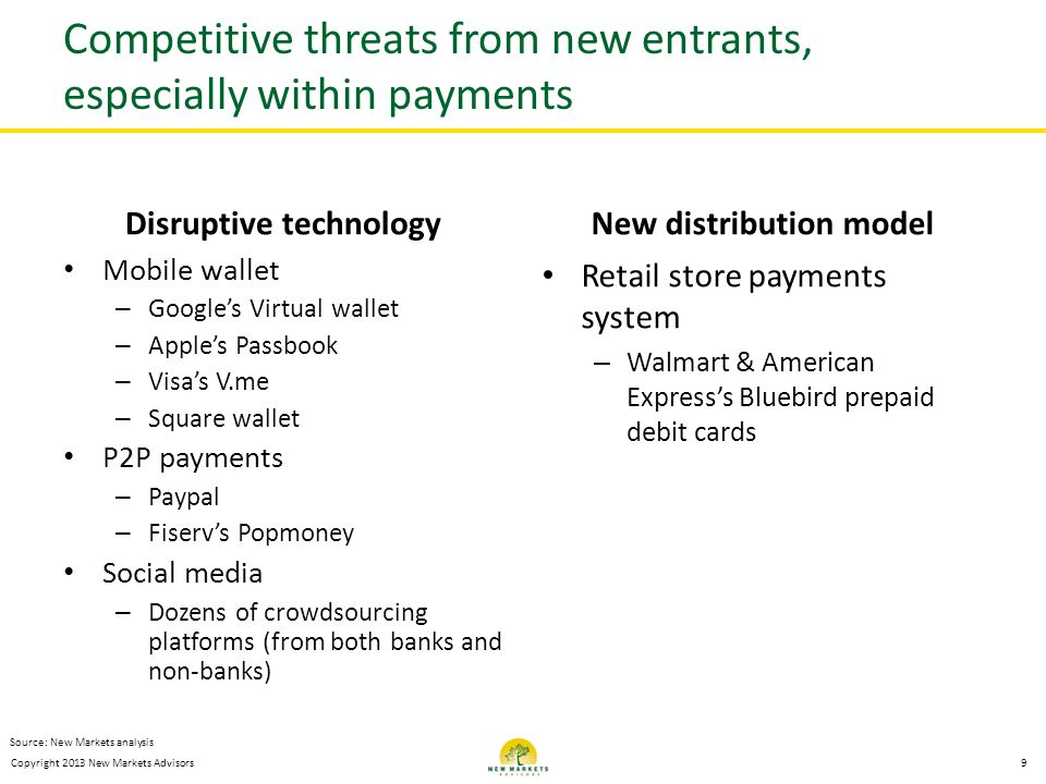 Competitive threats from new entrants, especially within payments
