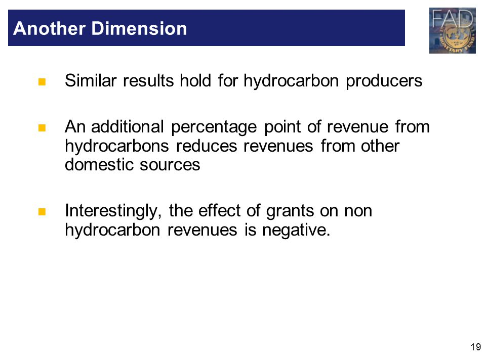 Another Dimension Similar results hold for hydrocarbon producers