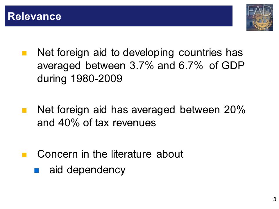 Relevance Net foreign aid to developing countries has averaged between 3.7% and 6.7% of GDP during 1980-2009.