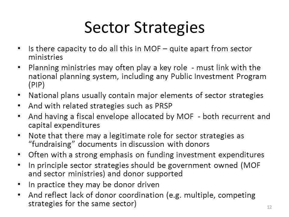 Sector Strategies Is there capacity to do all this in MOF – quite apart from sector ministries.
