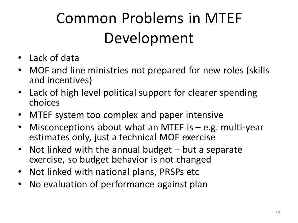 Common Problems in MTEF Development