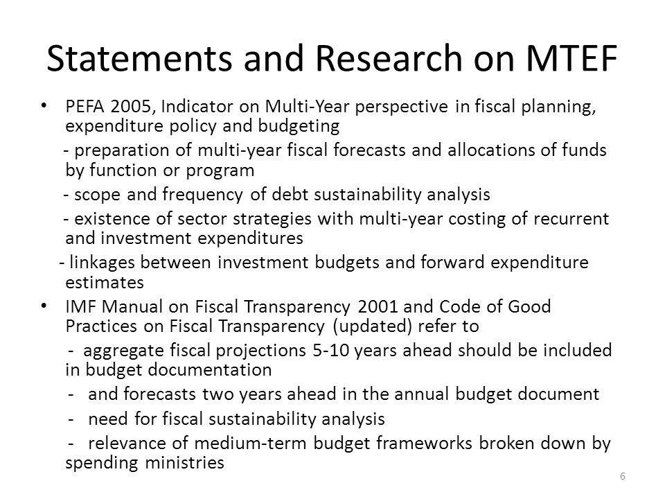 Statements and Research on MTEF