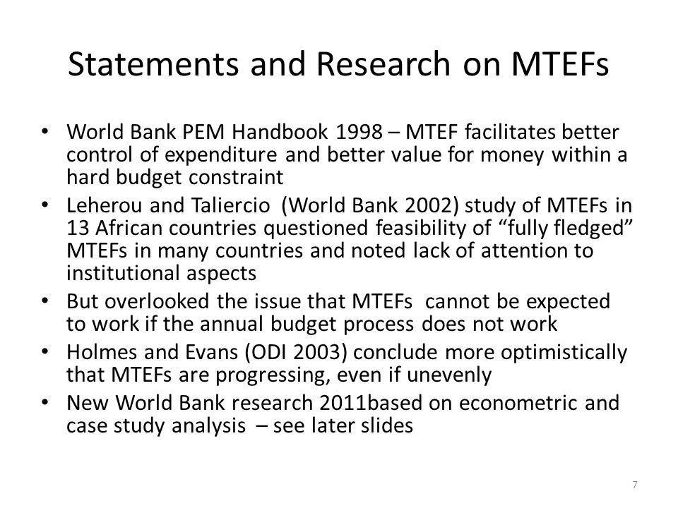 Statements and Research on MTEFs