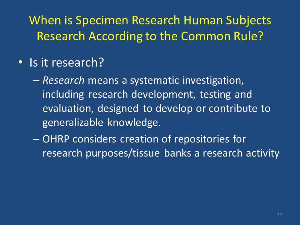 When is Specimen Research Human Subjects Research According to the Common Rule