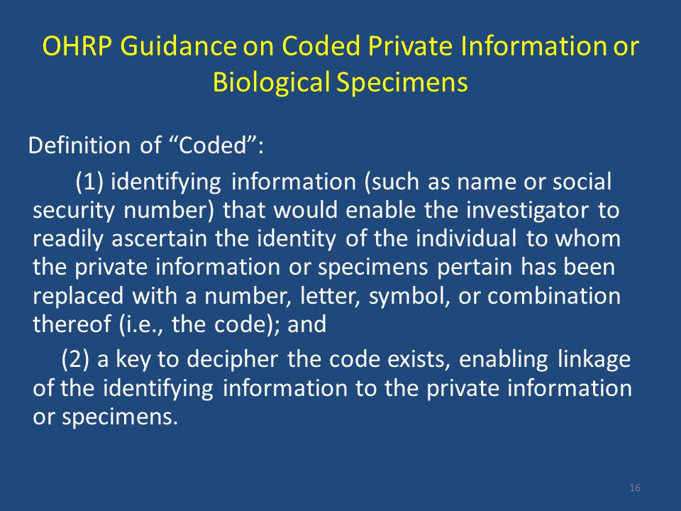 OHRP Guidance on Coded Private Information or Biological Specimens