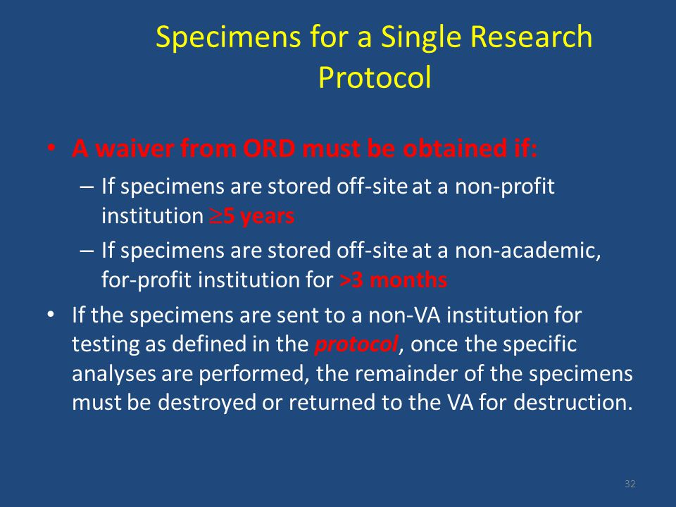 Specimens for a Single Research Protocol