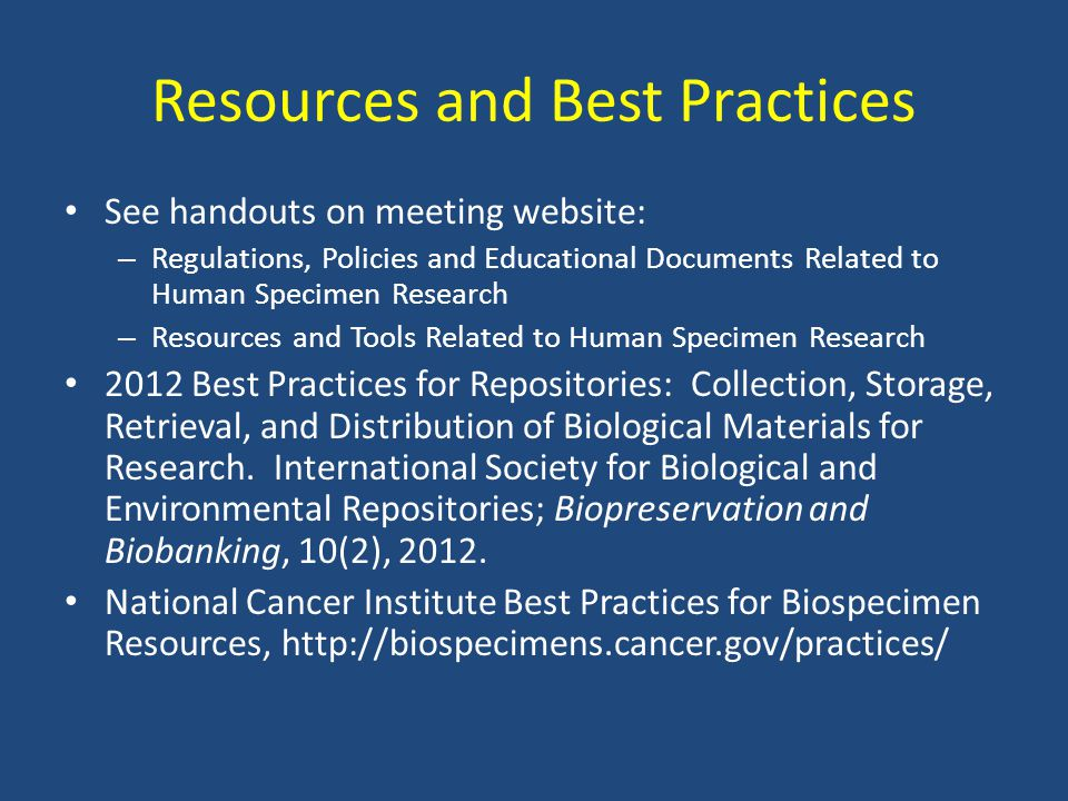 Resources and Best Practices