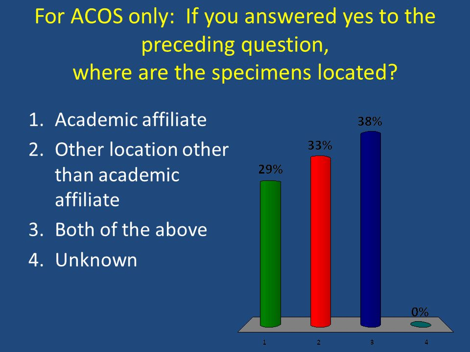 For ACOS only: If you answered yes to the preceding question, where are the specimens located