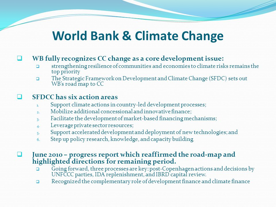 World Bank & Climate Change