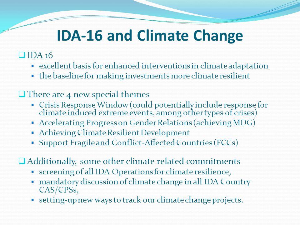 IDA-16 and Climate Change