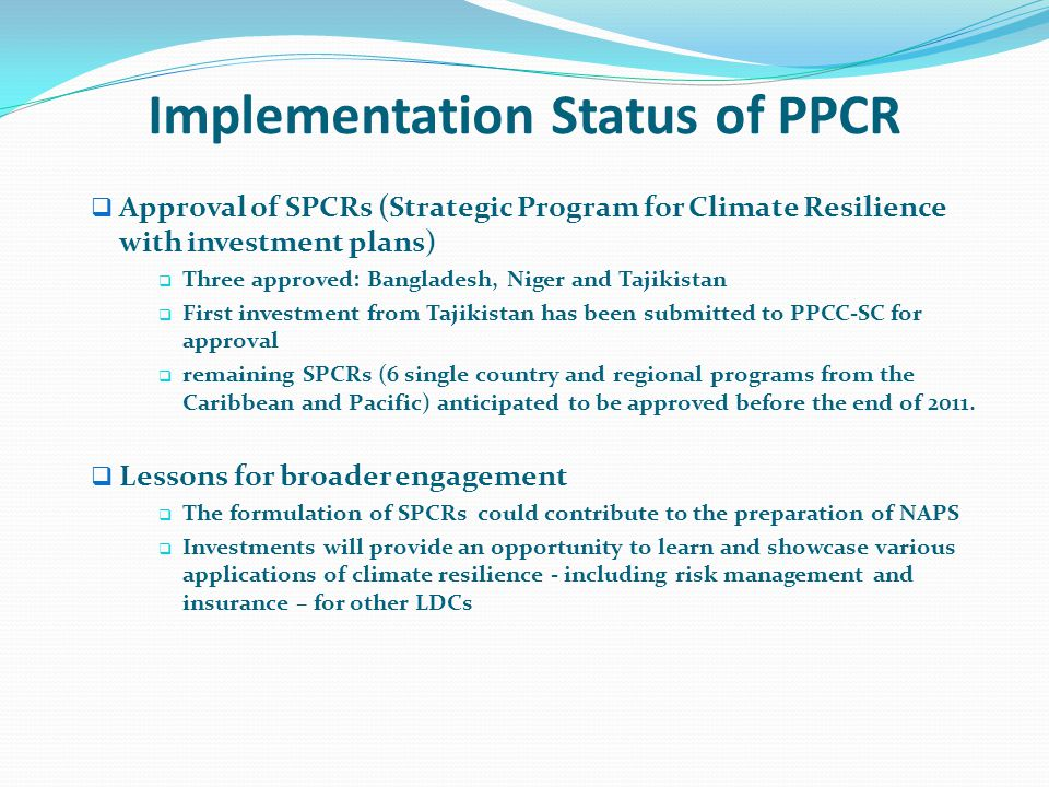 Implementation Status of PPCR