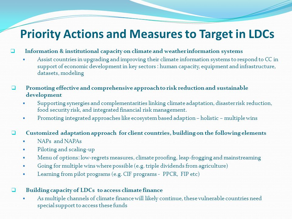 Priority Actions and Measures to Target in LDCs