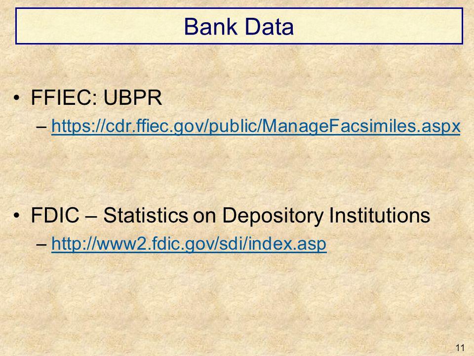 Bank Data FFIEC: UBPR FDIC – Statistics on Depository Institutions
